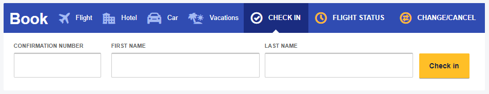 Southwest Airlines Online Check in