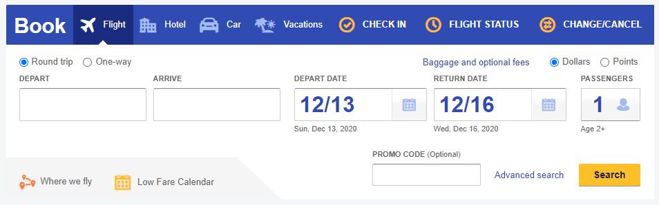 Southwest basic flight search form