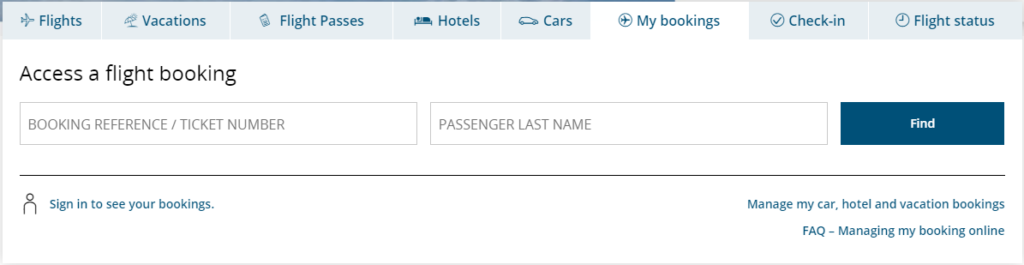 Air Canada Manage Booking
